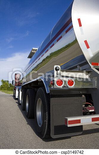Fuel or liquid tanker on the road - csp3149742