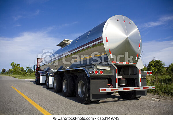Fuel or liquid tanker on the road - csp3149743