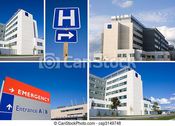 Modern hospital collage - csp3149748