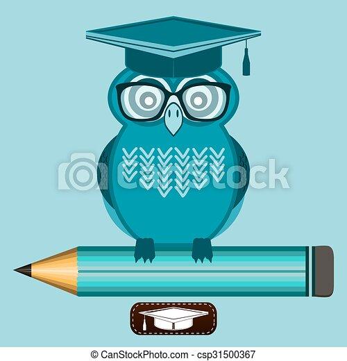 Clip Art Vector of Smart owl wearing glasses and a graduate cap ...