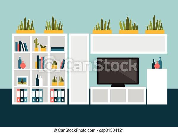 Vektor Illustration Von Wohnzimmer Shelves Wohnung