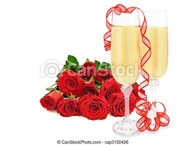 Sériové foto - růže, šampaňské - sériový snímek, snímky ...