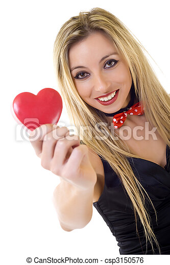 Woman holding Valentines Day heart - csp3150576