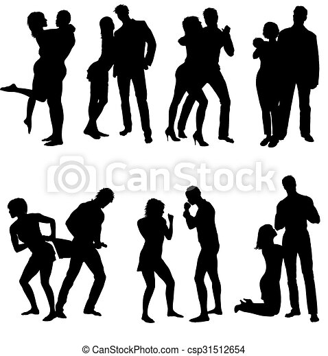 Vector silhouettes of couple. Life steps - csp31512654