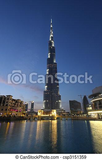 Burj Khalifa at dusk. Dubai United Arab Emirates - csp3151359