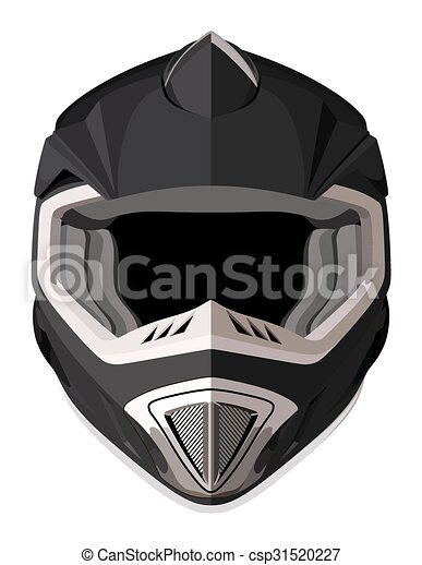 Black Front Helmet - Royalty Free EPS Vector - csp31520227
