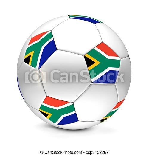 classic football/soccer ball consisting of silver metallic hexagons and pentagons with the flag of South Africa - csp3152267