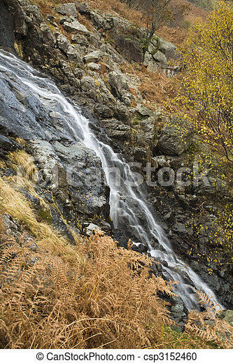 Sour Milk Gill as it falls from the fells near Seathwaite on the path to Great Gable, Lake District, Cumbria, Uk - csp3152460