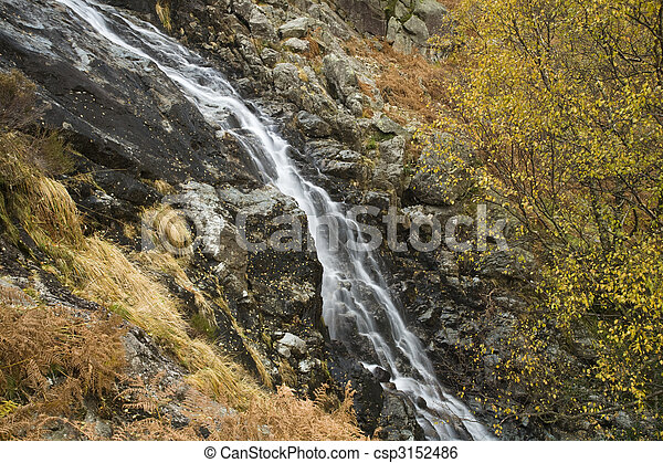 Sour Milk Gill as it falls from the fells near Seathwaite on the path to Great Gable, Lake District, Cumbria, Uk - csp3152486