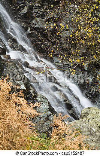 Sour Milk Gill as it falls from the fells near Seathwaite on the path to Great Gable, Lake District, Cumbria, Uk - csp3152487