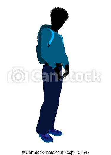 African American Teen Hiker Silhouette - csp3153647