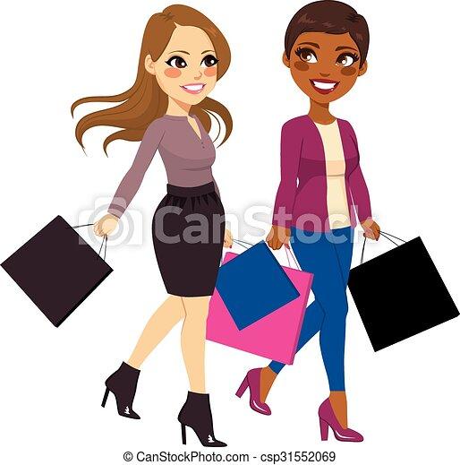 clip art vector of best friends women shopping   beautiful