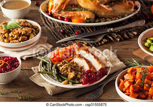Full Homemade Thanksgiving Dinner with Turkey Stuffing Veggies and Potatos
