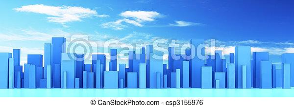 skyline of a 3d town - csp3155976