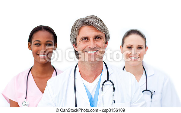 Self-assured doctors standing against a white background - csp3156109