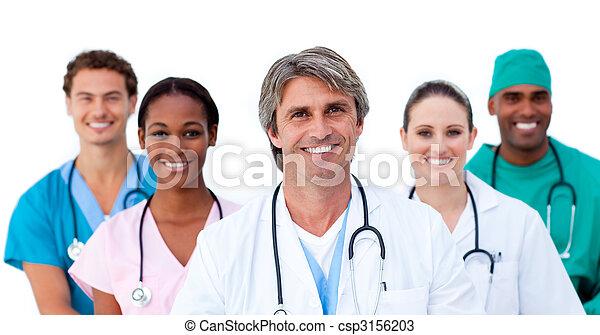 médico, equipe, sorrindo, multi-étnico - csp3156203
