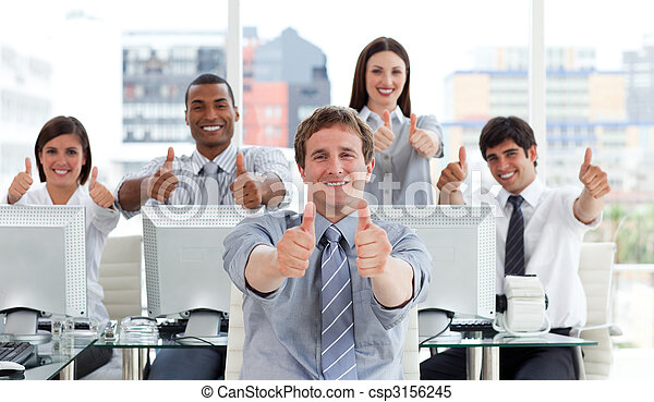 Lively business people with thumbs up - csp3156245