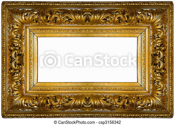 gold square frame over white background
