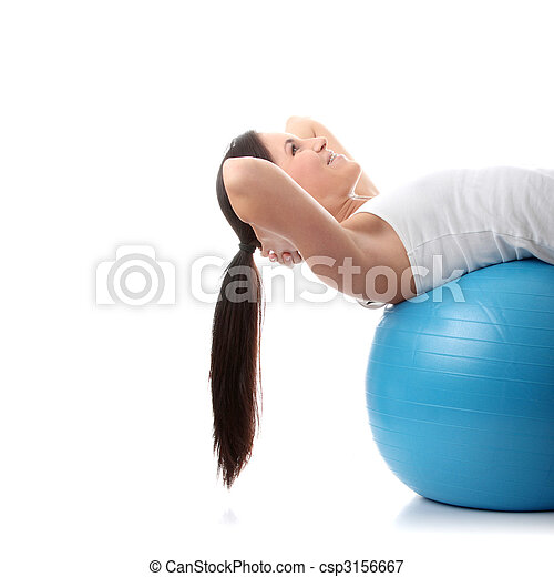 Young happy woman doing fitness exercise - csp3156667