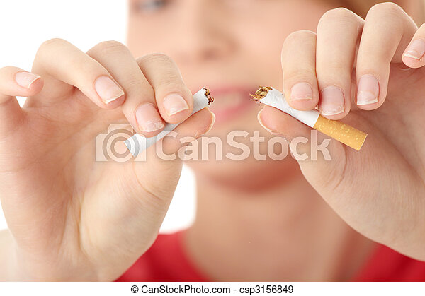 Young caucasian woman quiting smoking - csp3156849