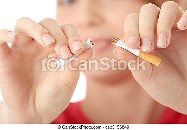 Young caucasian woman quiting smoking - csp3156849