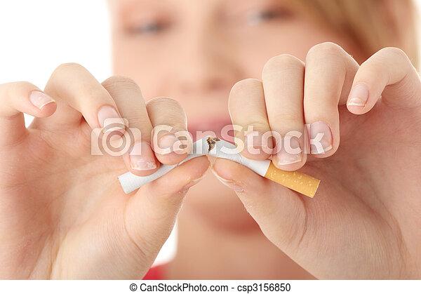 Young caucasian woman quiting smoking - csp3156850