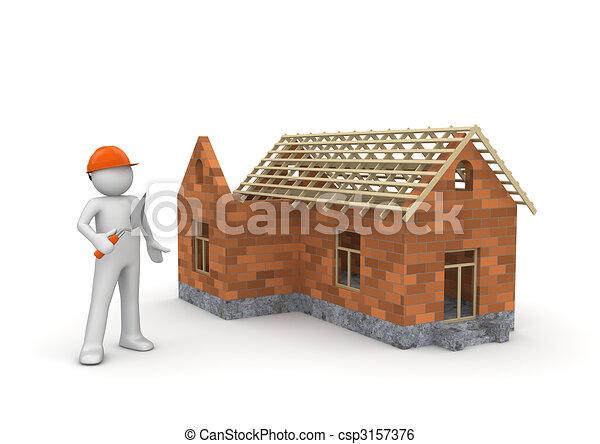 Builder / Under construction wireframe house - csp3157376