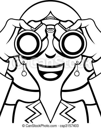 Vecteur - femme, à, jumelles, ligne, art - Banque d ...