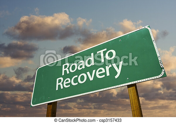 Road To Recovery Green Road Sign - csp3157433