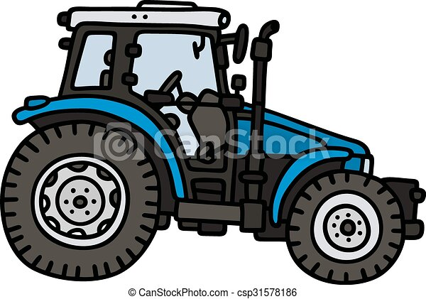 vecteur de bleu tracteur main dessin de a bleu tracteur csp31578186 recherchez. Black Bedroom Furniture Sets. Home Design Ideas