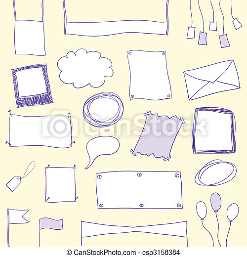 Doodle banners and frames with copy space - csp3158384