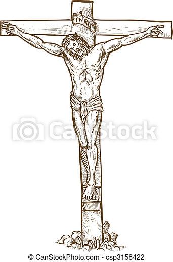 Jesus Christ hanging on the cross - csp3158422