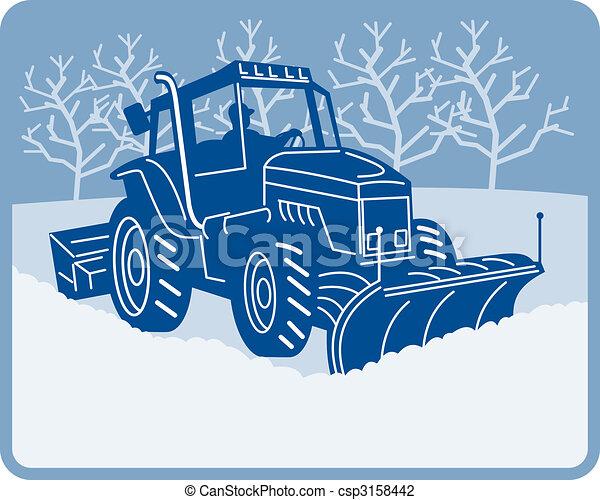 Snow plow tractor plowing winter scene - csp3158442