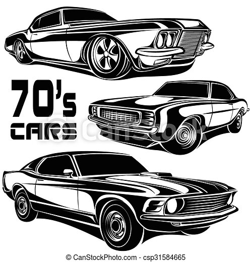 Clip Art Vector Of Cars Muscle Cars Search