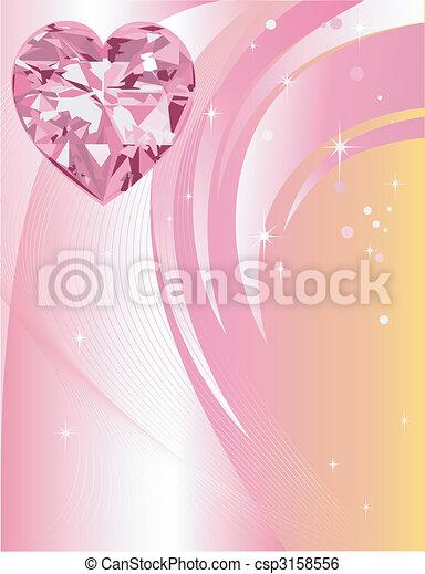 Pink Diamond Heart Background - csp3158556