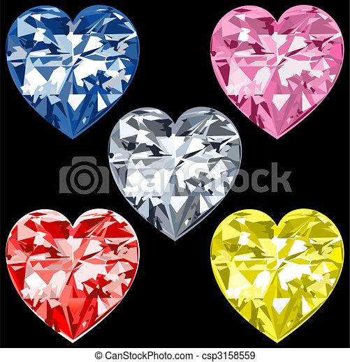 eps vectores de 5 diamante corazones vector