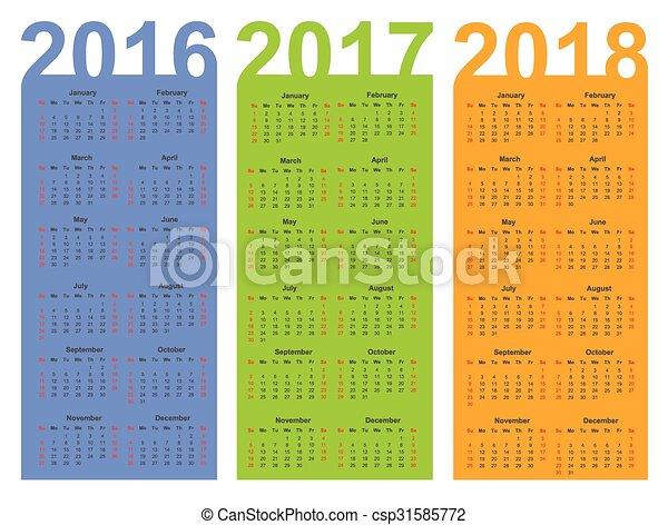 ベクター - カレンダー, 2016, 2017, 2018, 年, ベクトル ...