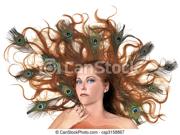 Redhead With Peacock Feathers in Her Hair on White Background - csp3158867