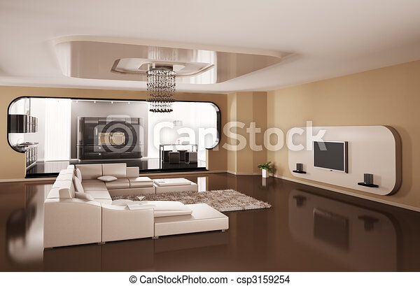 Interior of apartment 3d render - csp3159254