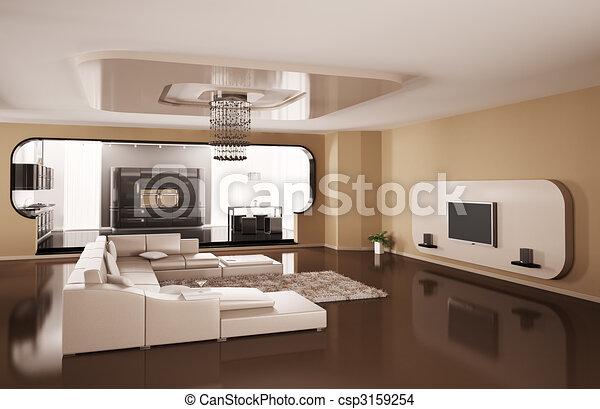 Interior of apartment 3d render - csp3159254