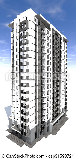 Clip art of visualization of modern multi storey for Multi storey apartment modern design