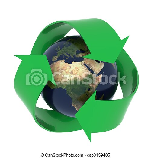 Earth with recycling symbol - csp3159405