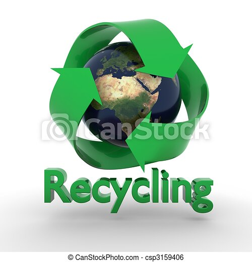 Earth with recycling symbol - csp3159406
