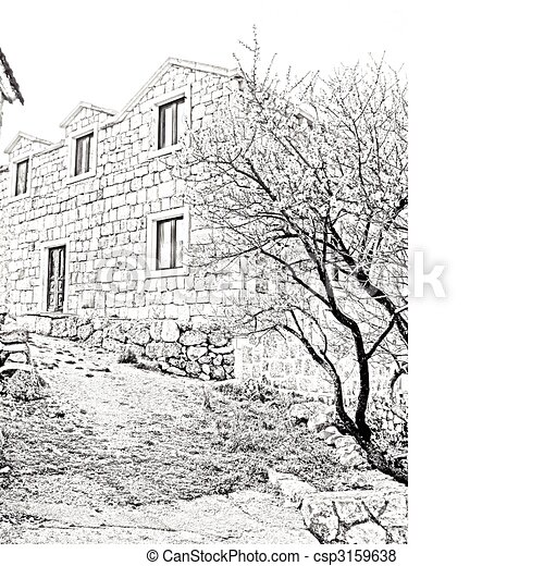 Old Village House Drawing Old House Csp3159638