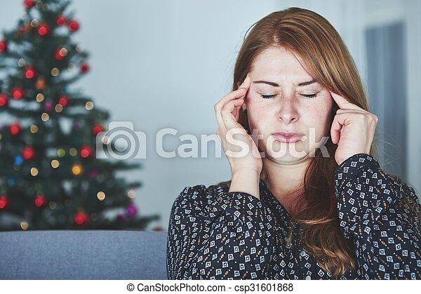 young unhappy girl has headache