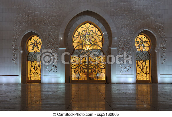 Detail of the Sheikh Zayed Mosque at night. Abu Dhabi, United Arab Emirates - csp3160805