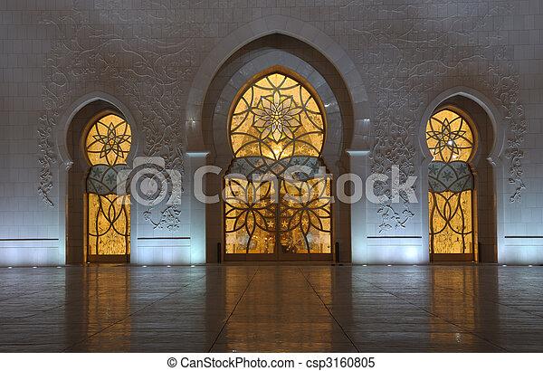Detail of the Sheikh Zayed Mosque at night. Abu Dhabi, United Arab Emirates - csp3160805