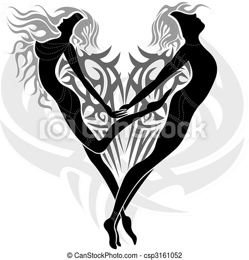 Tattoo design with a couple of two loving angels a woman and a man in a