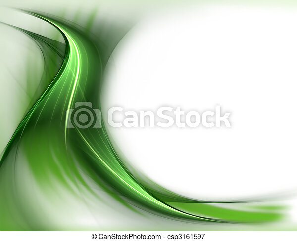 elegant wavy green spring  background  - csp3161597