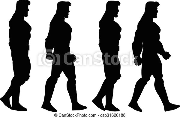 Vector of Walking Man Animation Sprite - Vector Illustration of ...